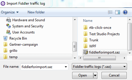 Import Fiddler traffic log