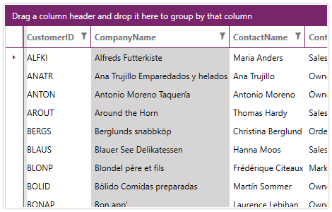 UI for WPF  RadGridView Column Selection