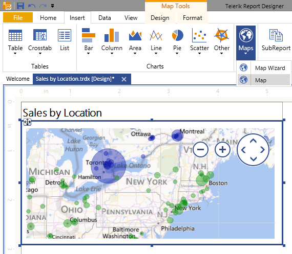 Telerik Reporting Map Item using Microsoft Bing maps, Road View