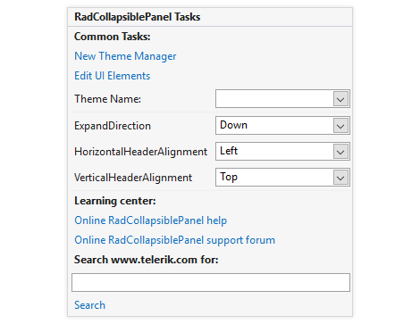 UI for WinForms CollapsiblePanel Design Time