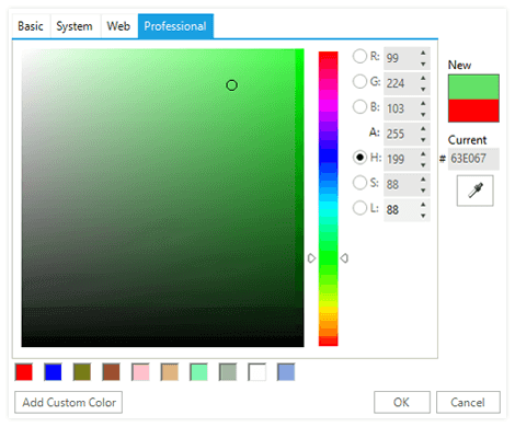 UI for WinForms ColorDialog Right Colors