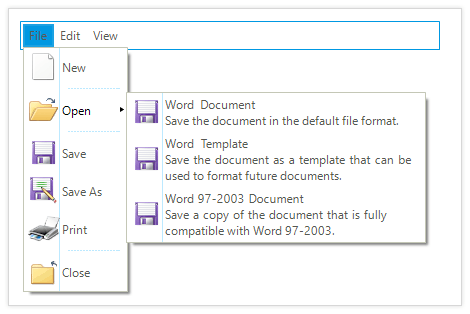UI for WinForms Menu Multiline Text
