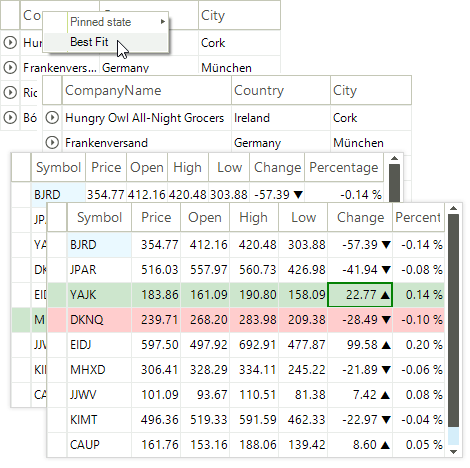 VirtualGrid for Telerik WinForms Sizing modes Screenshot