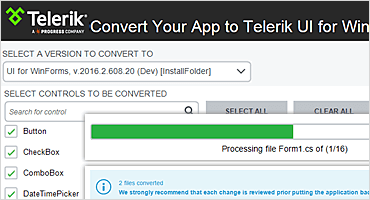 Telerik UI WinForms Conversion Tool